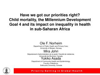 Have we got our priorities right Child mortality, the Millennium Development Goal 4 and its impact on inequality in heal