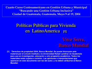 Pol ticas P blicas para Vivienda en  LatinoAmerica   [1]