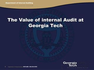 The Value of internal Audit at Georgia Tech