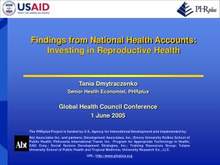 Findings from National Health Accounts: Investing in Reproductive Health