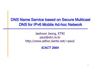 DNS Name Service based on Secure Multicast DNS for IPv6 Mobile Ad-hoc Network