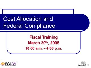 Cost Allocation and Federal Compliance