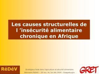 Les causes structurelles de l  ins curit  alimentaire chronique en Afrique