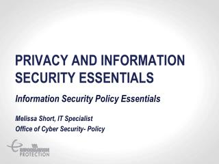 Privacy and Information security essentials