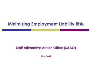 Minimizing Employment Liability Risk