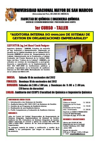 �AUDITORIA INTERNA ISO 19011:2011 DE SISTEMAS DE GESTION