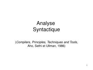 Analyse  Syntactique