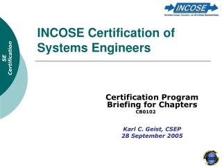 INCOSE Certification of Systems Engineers