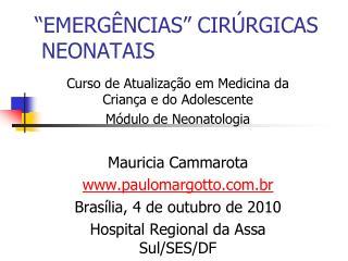EMERG NCIAS  CIR RGICAS  NEONATAIS