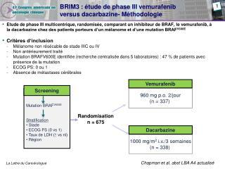 BRIM3 :  tude de phase III vemurafenib  versus dacarbazine- M thodologie