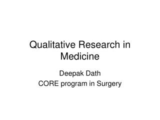 Qualitative Research in Medicine