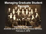 Managing Graduate Student Records