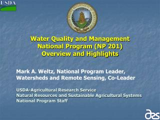 Water Quality and Management  National Program NP 201  Overview and Highlights