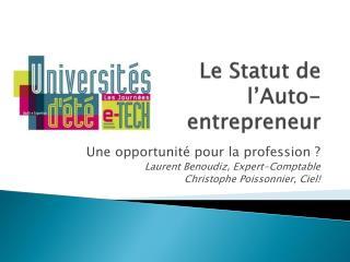 Le Statut de l Auto-entrepreneur