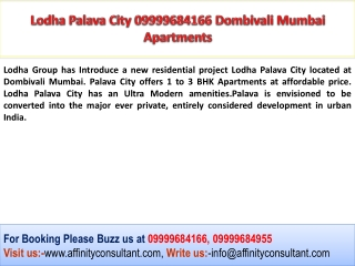 Lodha Dombivali 09999684955 Palava City Residential Project