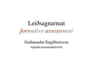 Lei sagnarmat  formative assessment