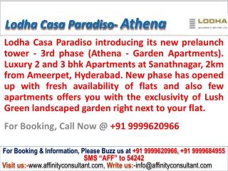 Lodha Casa Paradiso 3BHK Athena @09999620966 Hyderabad