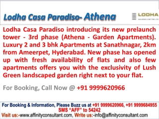 New Prelaunch Tower-Athena @09999620966 Lodha Casa Paradiso