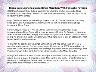 Bingo Cafe Launches Mega Bingo Marathon With Fantastic Payou