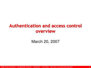 Authentication and access control overview