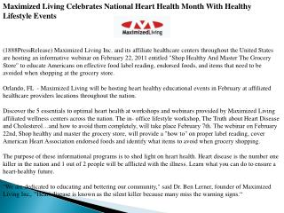 Maximized Living Celebrates National Heart Health Month With