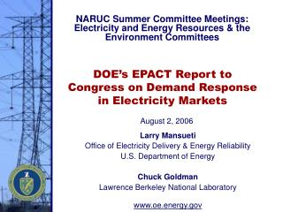 DOE s EPACT Report to Congress on Demand Response in Electricity Markets