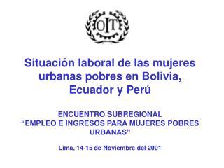 Situaci n laboral de las mujeres urbanas pobres en Bolivia,  Ecuador y Per   ENCUENTRO SUBREGIONAL    EMPLEO E INGRESOS