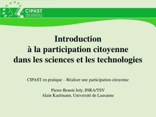 Introduction    la participation citoyenne  dans les sciences et les technologies