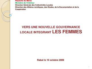 Royaume du Maroc Minist re de l Int rieur Direction G n rale des Collectivit s Locales Direction des Affaires Juridiques