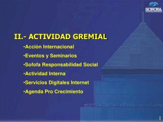 II.- ACTIVIDAD GREMIAL Acci n Internacional Eventos y Seminarios Sofofa Responsabilidad Social Actividad Interna Servici
