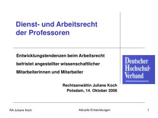 Dienst- und Arbeitsrecht  der Professoren