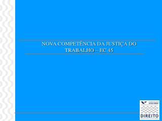 NOVA COMPET NCIA DA JUSTI A DO TRABALHO   EC 45