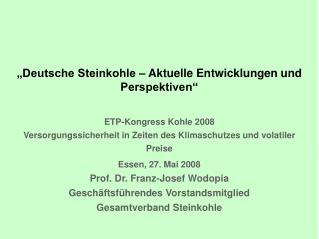 Deutsche Steinkohle   Aktuelle Entwicklungen und Perspektiven