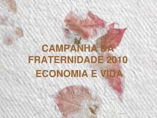 CAMPANHA DA FRATERNIDADE 2010  ECONOMIA E VIDA