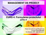MANAGEMENT DE PROIECT