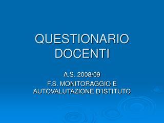 QUESTIONARIO DOCENTI