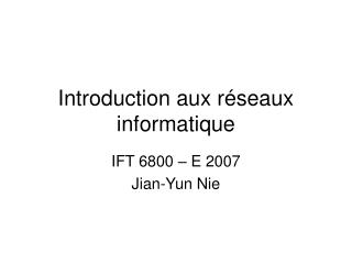 Introduction aux r seaux informatique