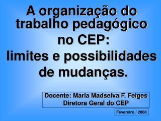 A organiza  o do trabalho pedag gico  no CEP:  limites e possibilidades  de mudan as.