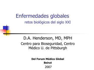 Enfermedades globales       retos biol gicos del siglo XXI