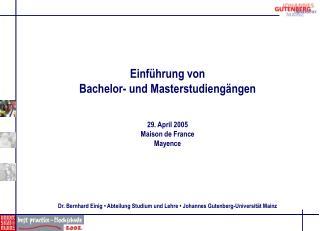 Einf hrung von Bachelor- und Masterstudieng ngen