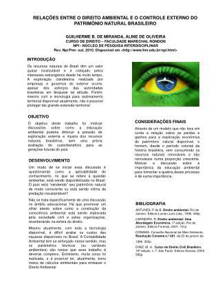 RELA  ES ENTRE O DIREITO AMBIENTAL E O CONTROLE EXTERNO DO PATRIM NIO NATURAL BRASILEIRO