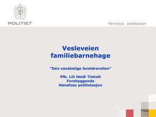 Vesleveien  familiebarnehage   Den vanskelige foreldrerollen   Pfb. Lill Heidi Tinholt Forebyggende H nefoss politistasj