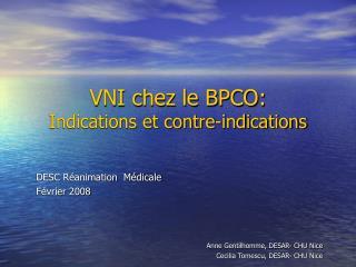 VNI chez le BPCO: Indications et contre-indications