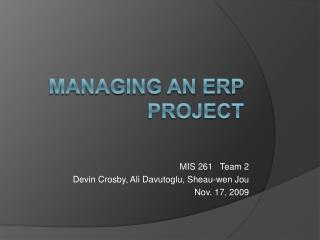 Managing an ERP Project