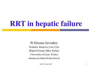 RRT in hepatic failure