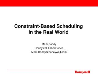 Constraint-Based Scheduling in the Real World