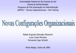 Novas Configura  es Organizacionais