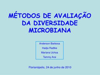 M TODOS DE AVALIA  O DA DIVERSIDADE MICROBIANA