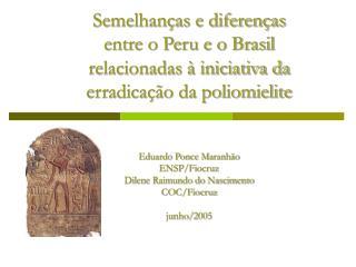 Semelhan as e diferen as  entre o Peru e o Brasil  relacionadas   iniciativa da  erradica  o da poliomielite   Eduardo P