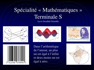 Sp cialit    Math matiques   Terminale S Lyc e Stendhal Grenoble